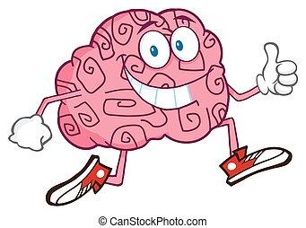 特徴, 脳, 微笑, ジョッギング