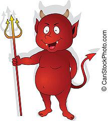 特徴, 赤, かわいい, 悪魔