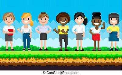 特徴, 風景, 女性, 自然, 立ちなさい, ピクセル, pixel-game, に対して, 背景, 青い空