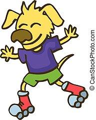 犬, 遊び, 漫画, ローラー スケート