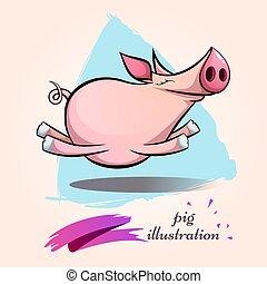 狂気, 面白い, かわいい, シンボル, pig., 特徴, 年, 2019., 漫画