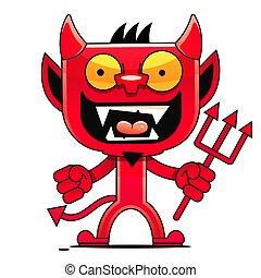狂気, devil., クリップ, 漫画, 単純である, gradients., 芸術, イラスト, ベクトル
