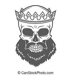 王, あごひげを生やしている, 古い, illustration., 頭骨, 型, 皇族, 王子, tシャツ, 残酷, crown., 専制君主, 肖像画, ロゴ, template., design.