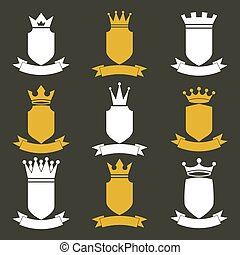 王, うねりなさい, セット, illustration., elements., お祝い, 皇族, heraldic, 王冠, コレクション, ribbon., ベクトル, デザイン, 贅沢, 宝冠, 帝国, 保護