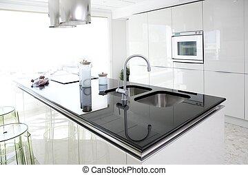 現代, デザイン, きれいにしなさい, 内部, 白, 台所