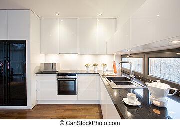 現代, 設計された, 台所