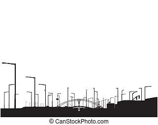 現代, sihouette, 都市眺め