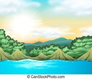 現場, 湖, 木, 自然