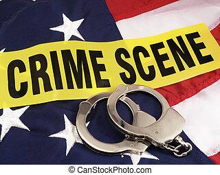 現場, 袖口, 上に, 旗, 手, アメリカ人, テープ, 犯罪