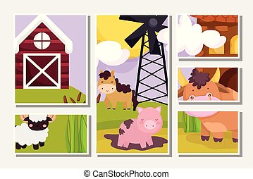 現場, 農場, カード, 雄牛の馬, goat, 動物, 豚, 風車, 納屋