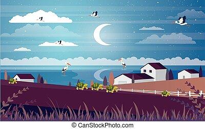 現場, 農場, 夜, 村, 光景