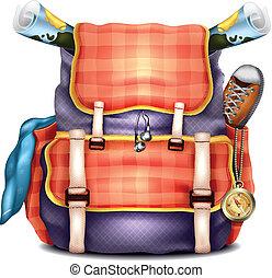 現実的, 旅行, ベクトル, バックパック
