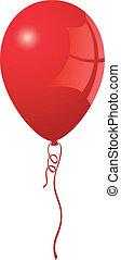 現実的, balloon, ベクトル, 赤