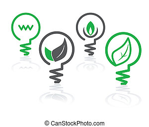 環境, 明るい緑, 電球, アイコン