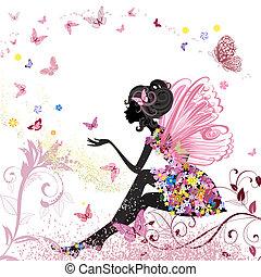 環境, 蝶, 花, 妖精