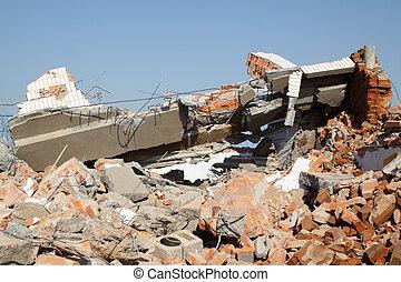 瓦礫, くすぶること, 破壊