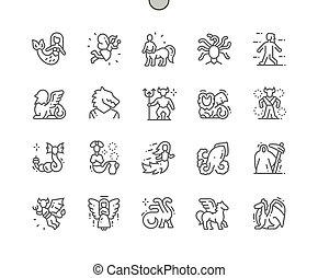 生きもの, 網, 単純である, 完全, アイコン, 線, 神話である, グラフィックス, apps., ベクトル, 最小である, 30, pictogram, 格子, ピクセル, 2x, 薄くなりなさい, well-crafted