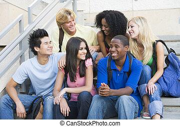 生徒, ステップ, 大学, グループ, モデル