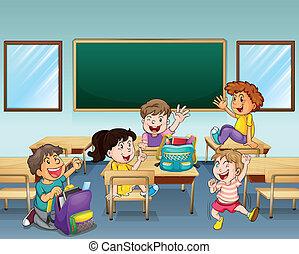 生徒, 教室, 中, 幸せ