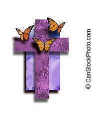 生活, グラフィック, キリスト教徒, 交差点, 蝶, 新しい