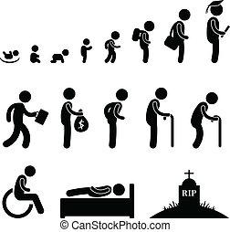 生活, 古い, 人間, 学生, 子供, 赤ん坊