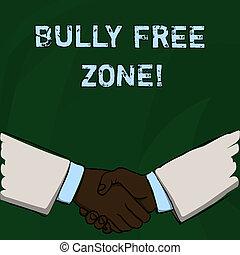 生活, 概念, 単語, bully, 形態, 挨拶, 作成, テキスト, zone., 無料で, 執筆, ビジネス, agreement., 学校, 濫用, 大学, ビジネスマン, 手が震える, ジェスチャー, しっかりと