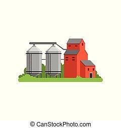 生活, 農場の建物, 田舎, オブジェクト, イラスト, タワー, ベクトル, 農業, サイロ