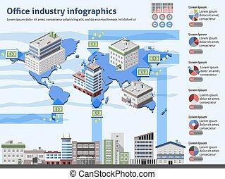 産業, オフィス, infographics