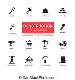 産業, セット, アイコン, 概念, -, 建設, デザイン, 線