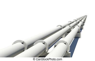 産業, パイプ, 伸張, 隔離された, 白, 距離。