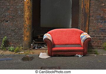 産業, 古い, 捨てられた, アリー, ソファー, 方法