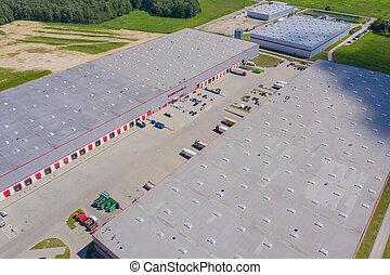 産業, 商品, concept., ビュー。, warehouse., 手ざわり, 背景, 地域, 無人機, 航空写真, 中心, ロジスティクス, 都市眺め