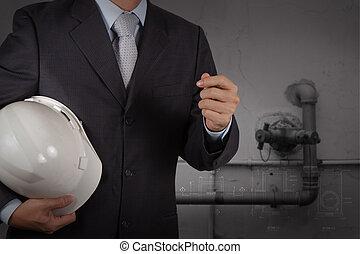 産業, 笛吹き, ファシリティ, 水, 概念, 清掃, 無駄, エンジニア
