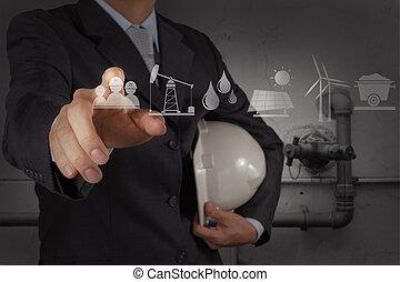 産業, 笛吹き, 仕事, ファシリティ, 水, 概念, 清掃, 新しい, 無駄, コンピュータ, エンジニア
