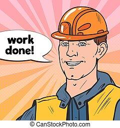 産業, 芸術, 建築者, ポンとはじけなさい, ユニフォーム, ベクトル, イラスト, worker., 微笑, helmet., 人