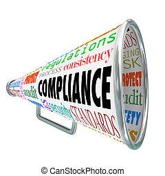 用語, 監査, policies, bullhorn, プロセス, コンプライアンス, 規則, 関係した, ∥あるいは∥, 一貫性, 規則, 標準, セキュリティー, 安全, 単語, 法律, そのような物, メガホン, 指針, もっと