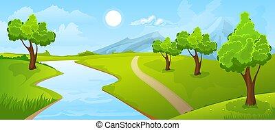 田園, 川の景色, 夏