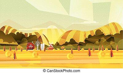 田園 景色, ベクトル, 農場, 背景
