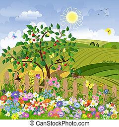 田園 景色, 果樹, フェンス