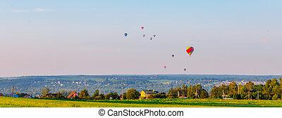 田舎, 上に, 夏, 空気, 旗, 暑い, 風船