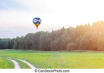 田舎, 上に, 夏, 空気, 旗, balloon, 暑い