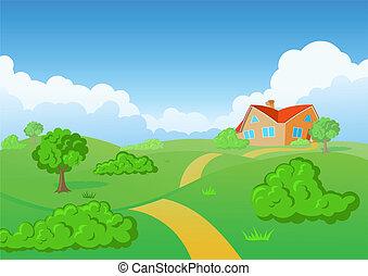 田舎, house., 緑, meadow.