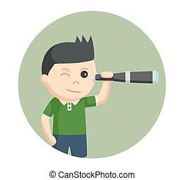 男の子, わずかしか, 望遠鏡, 背景, 使うこと, 円