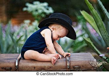 男の子, わずかしか, 黒い帽子