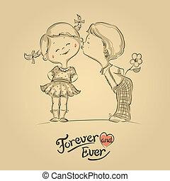 男の子, イラスト, 手, 接吻, 引かれる, 女の子