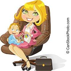 男の子, オフィス, ビジネス, お母さん, ベビー椅子