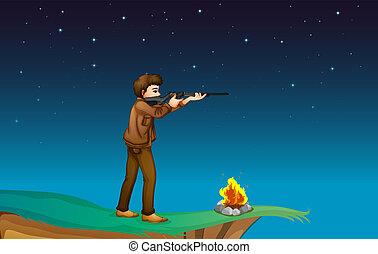 男の子, キャンプファイヤー, 銃, 崖