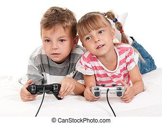 男の子, ゲーム, ビデオ, 女の子, 遊び, 幸せ