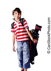 男の子, ゴルフ, 若い, 袋, 隔離された