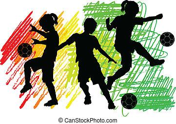 男の子, シルエット, サッカー, 女の子, 子供
